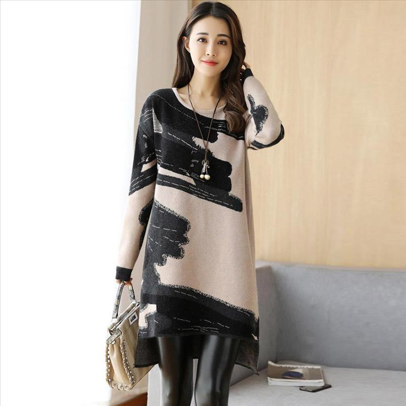 2021 Loose Autumn Women Long Dress Dress Korean Dresses Knitted Fashion Sweater Sleeve Winter Japanese Korean Style Unrsn