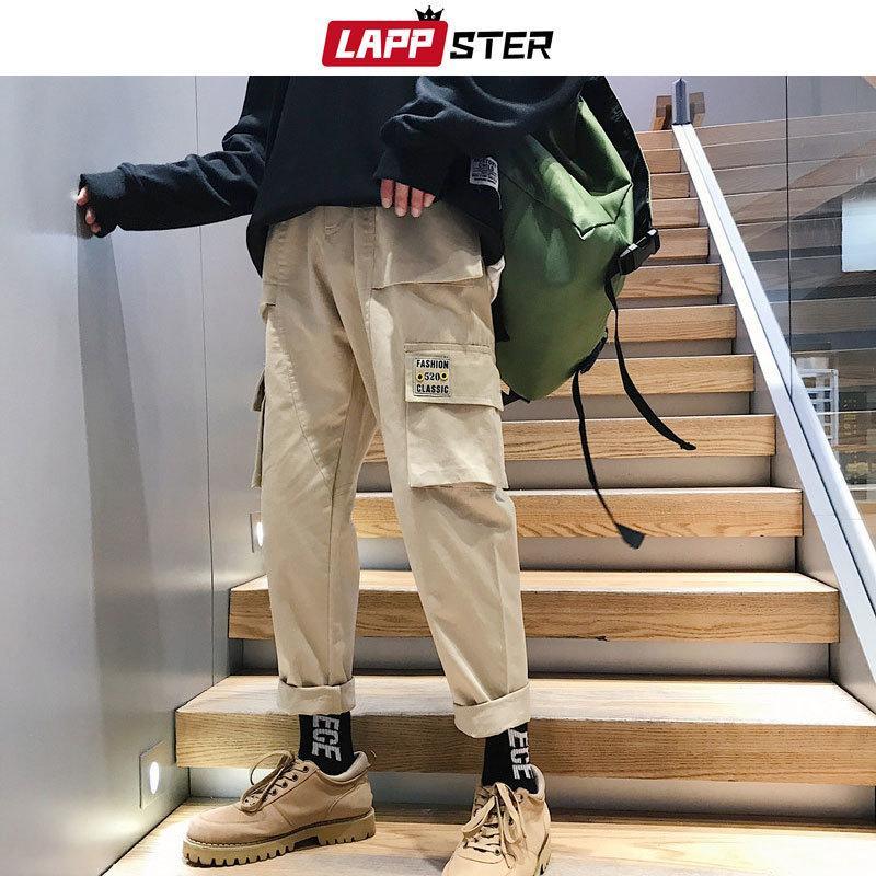 Lappster hommes HIP HOP CARGO CHOPUELS MENS STREETWEAR JOGGERS HOMME Sweat Kaki Coréen Fashions Pantalons de piste 201109