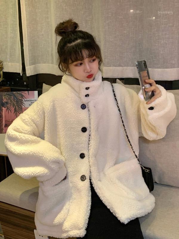 As mulheres misturas de lã cordeiros casaco de mulheres solteiro botão preto botão mock pescoço camisola granular quente de lã no outono e inverno 2021 mulheres