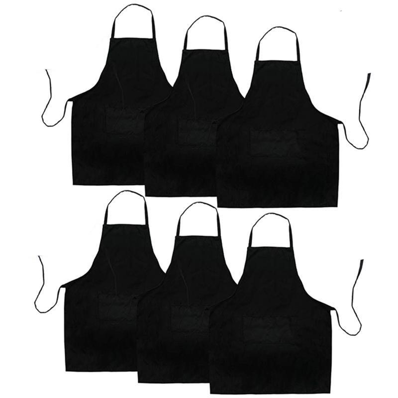 6 Pack Preto avental da cozinha com 2 bolsos Anti-sujo Avental Adequado para Barbecue Kitchen Cooking Baking Restaurante