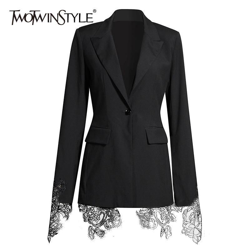 Twotwinstyle Patchwork Nakış Dantel Blazer Kadınlar Için Çentikli Yaka Uzun Kollu Tunik Rahat Mont Kadın 2020 Sonbahar Moda X1214