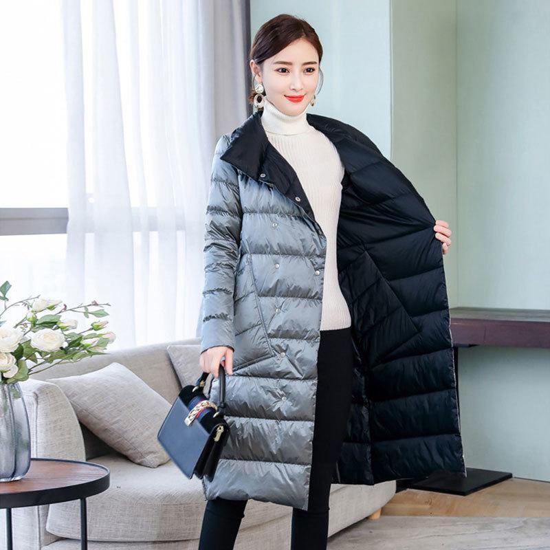 Jxmyy Mujeres caras larga chaqueta de otoño del resorte del cuello alto de pato blanca doble de pecho caliente Parkas nieve Outwear