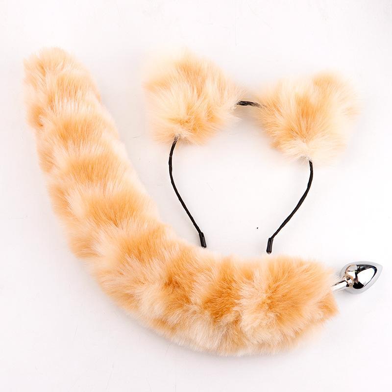 Fashion carino peluche gatto orecchie fascia con metallo faux fox coda anale farcito per donna sexyy play costume coppia coppia giocattoli sexy