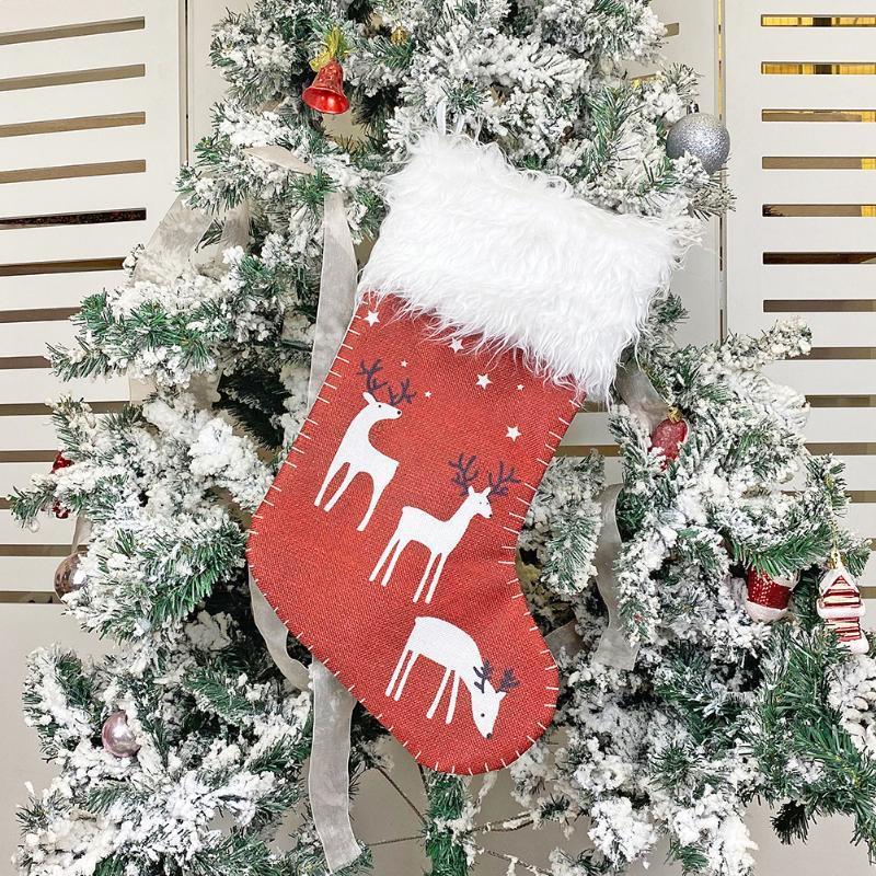 Симпатичные рождественские Висячие Рождественская елка Висячие Подвеска Классический чулок Дети Конфеты Упаковка подарков Мешочек Главная Украшения