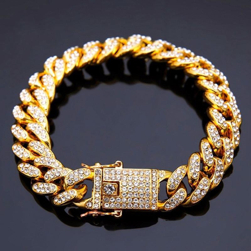 Hyperbole 12mm Goldfarbe Hip Hop Strass-Armbänder für Männer