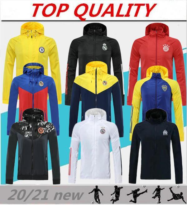 Top 20/21 Étanche longue fermeture à glissière à capuche à capuche 2020 2021 Camisola de Futebol Capuche Capuche Jacket de football Sportswear respirant