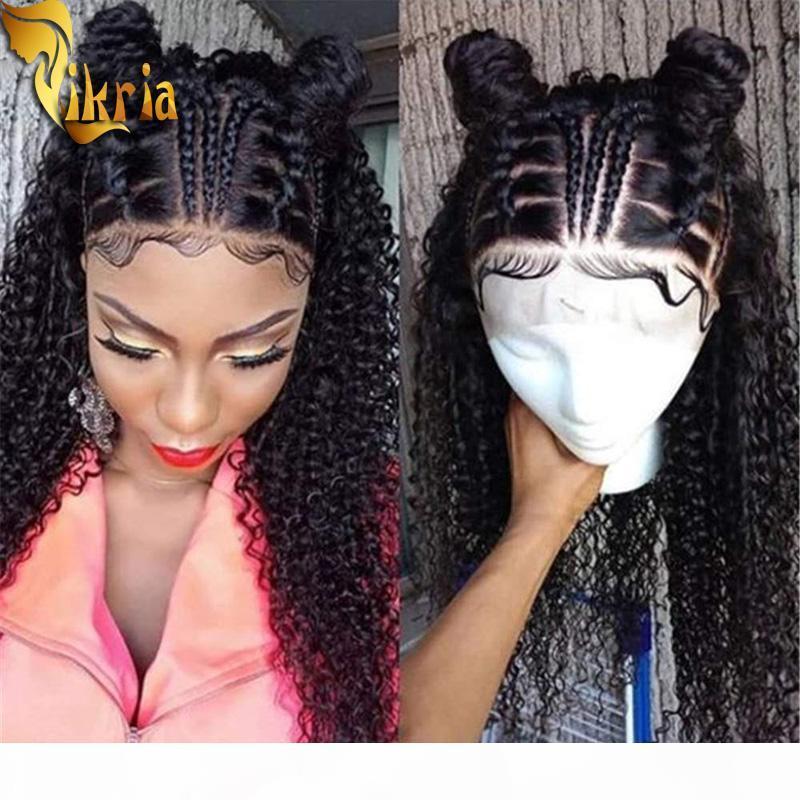 Moderne Show Cheveux Kinky Curly 13x4 Dentelle Dentelle Perruque avant Lace Perruque Humaine Perruque Prefline Prefline Couleur Naturelle 130% ~ 150% Densité pour Noir Wome
