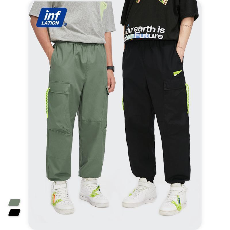 Pantalones para hombres Inflación para hombre Joggers Pant 2021 Mirar Harajuku Cintura elástica Cinturón Casual Hombres Multi Bolsillos Hip Hop 3605S21