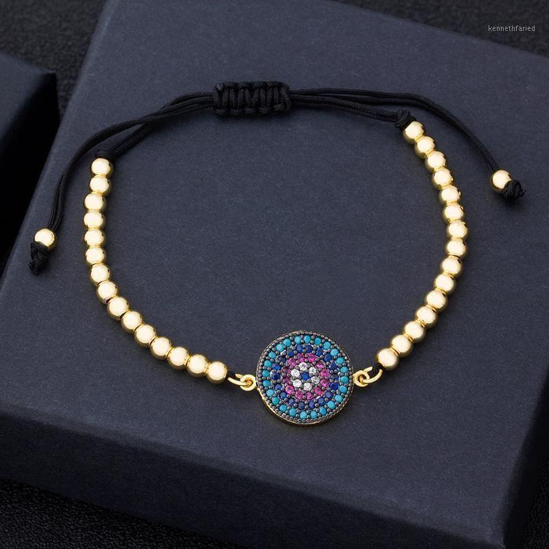 Vendita calda delicata Eye Eye Eye Perline di rame Braccialetto fatto a mano Regolabile Zirconia Dichiarazione Gioielli per le donne Party Wedding Gifts1
