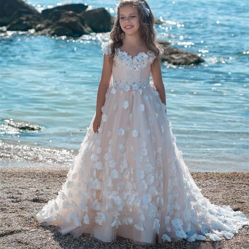 A Scoop Scoop Avorio Flower Girl Dresses Floor Lunghezza Flower Belt Girl Abiti per abiti da sposa per il concoolino