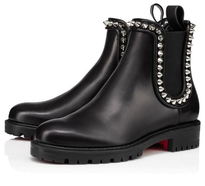 Зимний дизайнерские женские красные нижние ботинки Capahutta лодыжки ботильоны коренастые каблуки высокие высокое качество бренды красные подошвы вечеринка свадьба