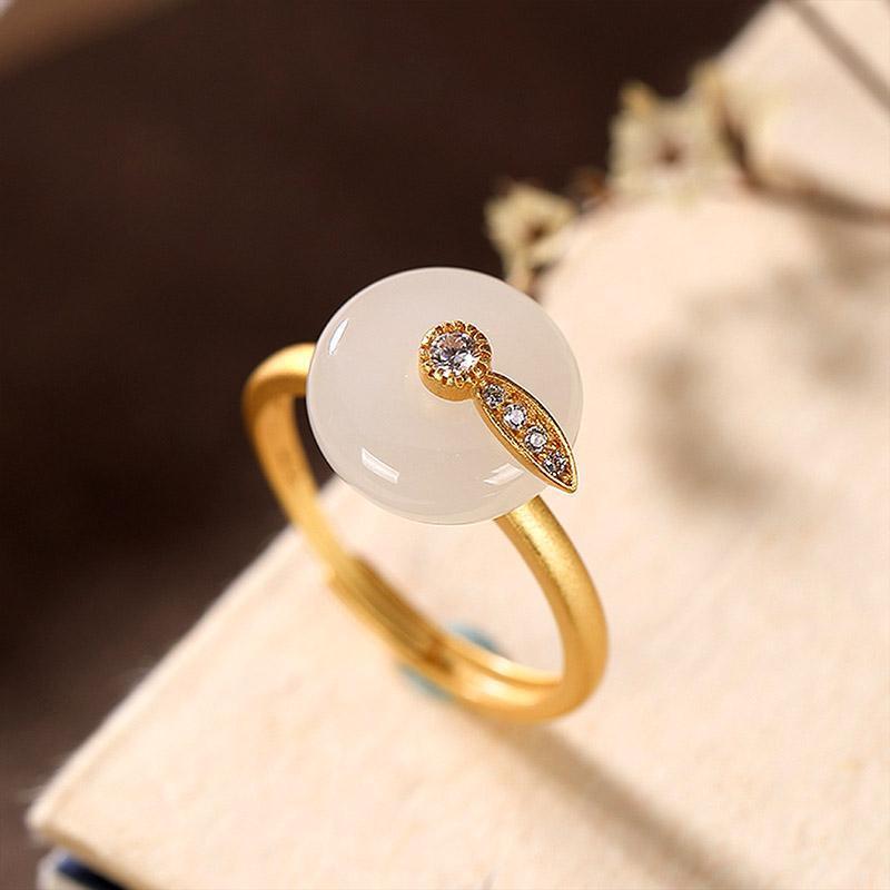 Серебро 925 кольцо белого нефрита стерлингового серебра позолоченного Хотан нефрит белый сейф пряжки женщина Регулируемое отверстие Роскошные ювелирные изделия