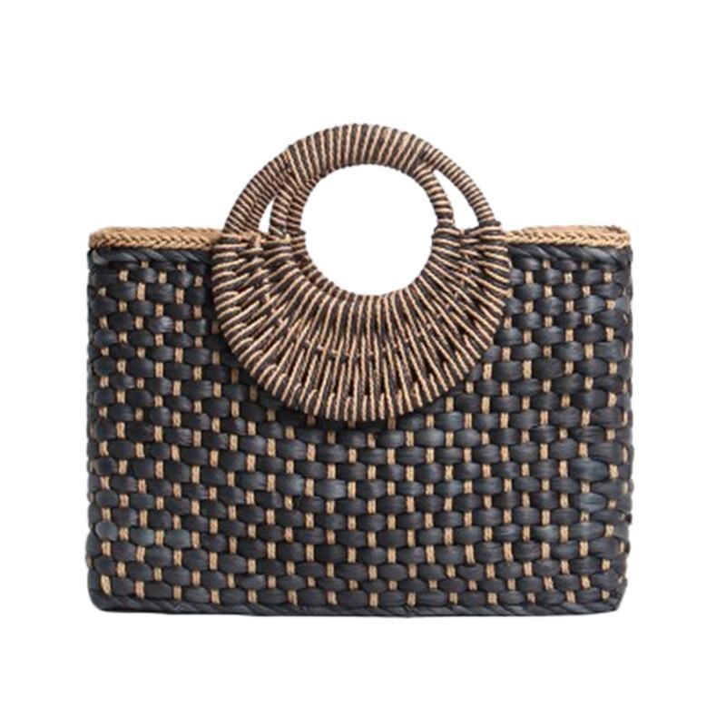 Island Basket Shopping Bag Black Hand Beach Bags Bohemia Woven Bag Hand Straw Color Wind Satchel Bali Solis