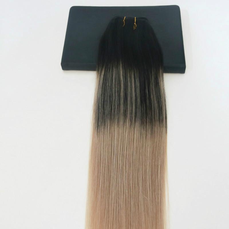 الإنسان نسج الشعر أومبير صبغ اللون الشعر العذراء البرازيلي اللحمة حزمة الإضافات BALAYAGE اثنين من لهجة 1B # لرقم 18 ويبرز الشعر