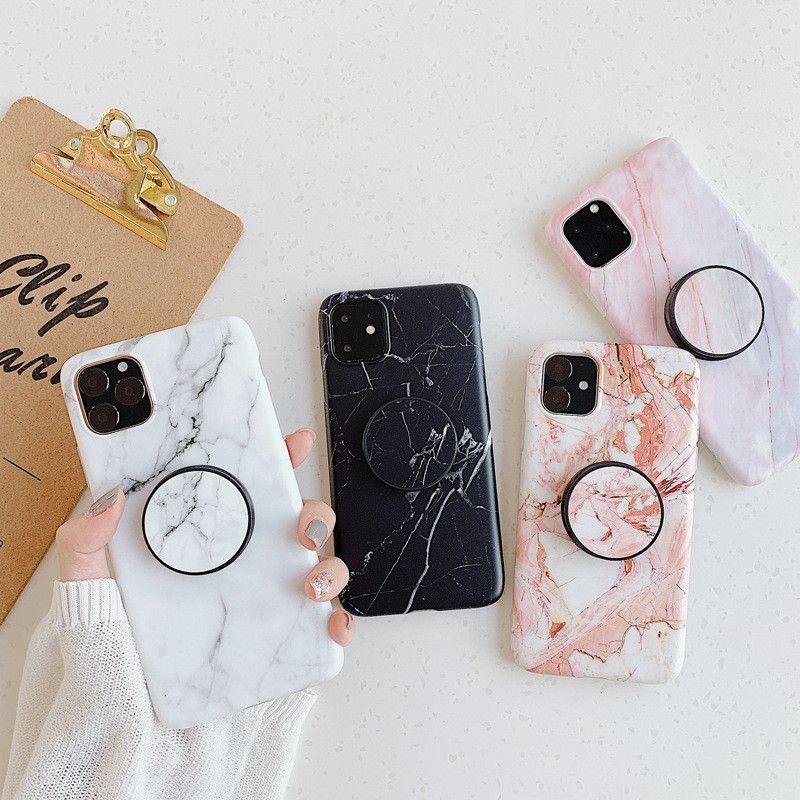 Cassa del telefono in pietra di marmo di modo per iPhone 12 Mini PRO MAX 11 Pro XS Max XR x 8 7 6S Plus Soft TPU Custodie telefoniche TPU con staffa