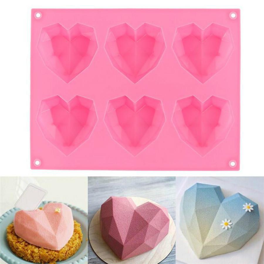 New Diamond Love moldes de silicone em forma de coração para bolos de esponja Mousse Chocolate Dessert Bakeware Mold Mold Handmade Presente