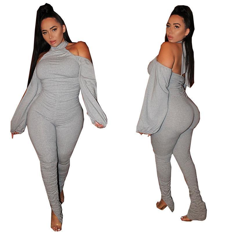 di Moda Donna Solid Clubwear tute Lady Plus Size XL - 5XL Scollo all'americana completa Backless manica Sports Party Stacked pagliaccetti