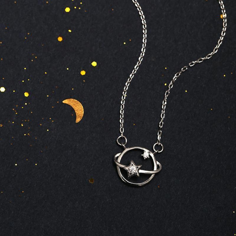 Chains Silver Color Planet Star Pendant Necklace Zircon Hollow Universe Chain Women Friend Gifts
