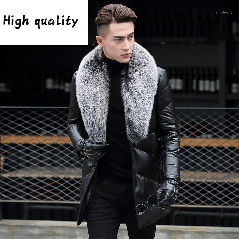 Зимняя кожаная подлинная утка вниз куртка мужчины настоящий меховой воротник Parka Mens P-13-17199-1 My8211