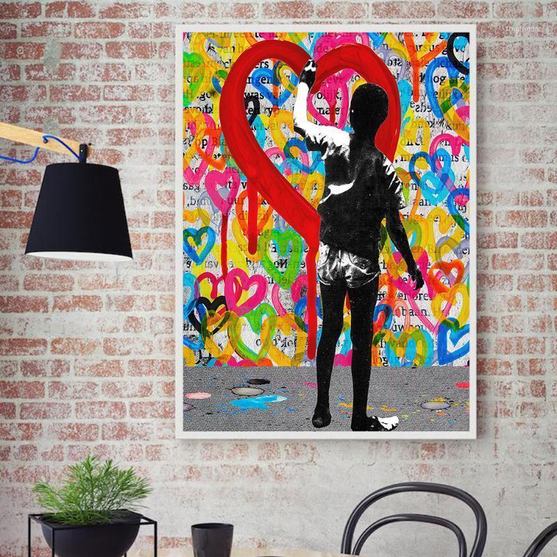 Картины Home Decor Canvas Print Граффити Рисунок Животное Банксы Обезьяна Настенная Картина Картина Модульная картина Плакаты Современная гостиная рамка1