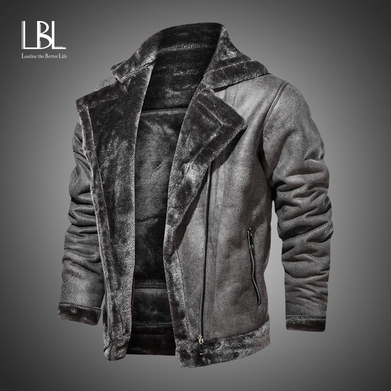 Invierno para hombre de la PU de la chaqueta de la piel de imitación collar abrigos caliente grueso de la chaqueta de la motocicleta nueva de la manera a prueba de viento la capa de cuero de los hombres de masculino 201014