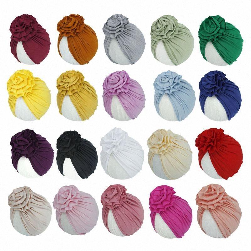 2020 2020 Blumen-Baby-Hut Neugeborenes Elastic Turban Hüte Cotton Infant Beanie Cap F3ME 3cPi #
