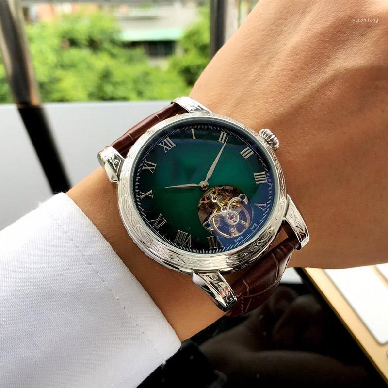 Homens assiste ao movimento automático 45mm * 15mm 316L relógios de luxo de aço inoxidável presente de três pinos
