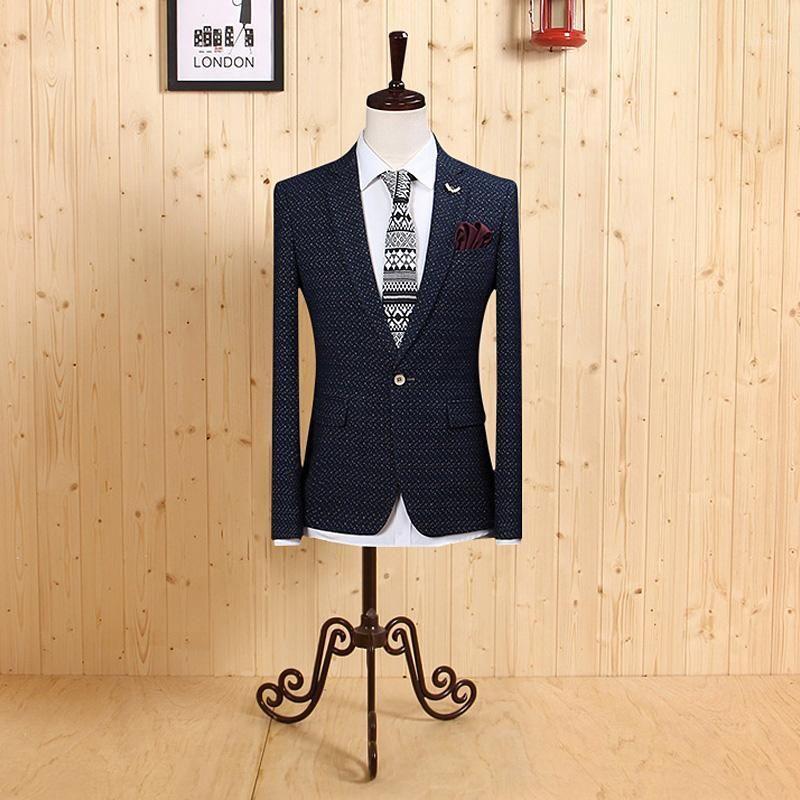 Erkekler Giyim 2020 Yüksek Kaliteli Erkekler Ince Rahat Blazers Suit Uygun Tek Göğüslü Derin Mavi Düğün Damat İş Adam Giyim1