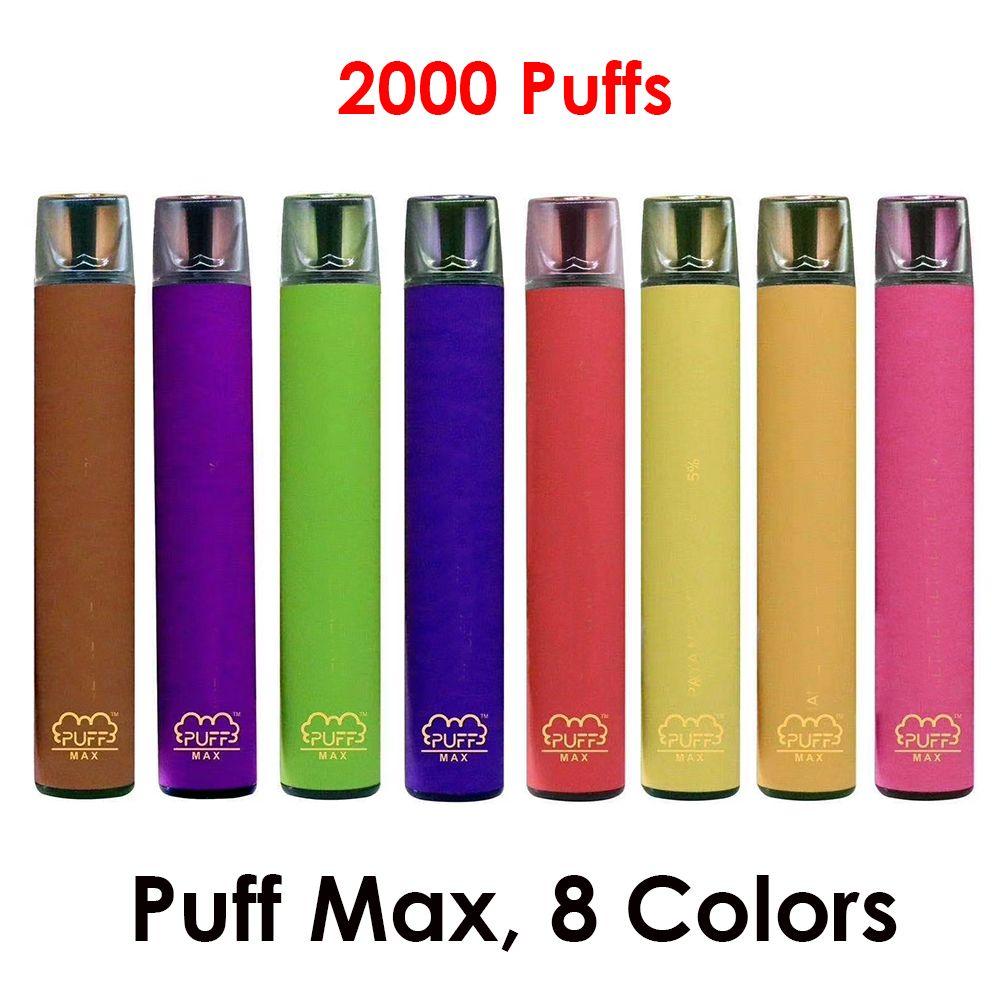 Puff Max Puffs desechables cigarrillo electrónico Vape 8 colores 2000 con plano transparente Driptip populares vaporizador