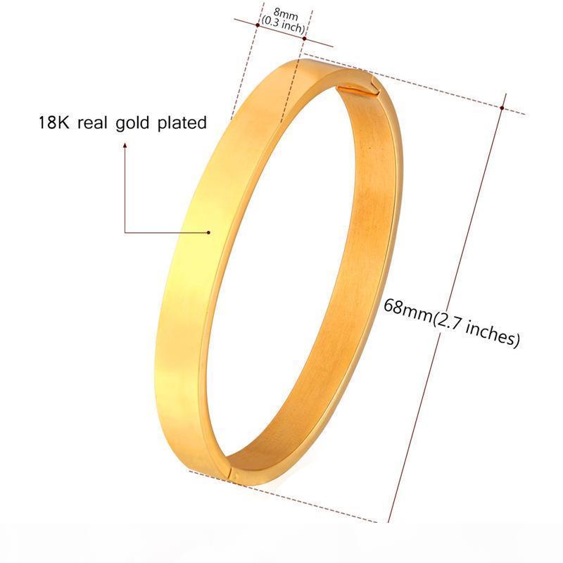 18 quilates hombres de la moda plateado oro verdadero pulsera de acero inoxidable de calidad superior simple pulsera brazalete de oro de estilo