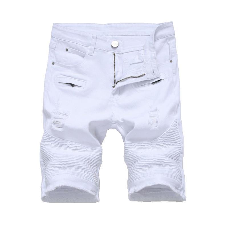 Verano Hombre Denim Slim Casual Rodilla Longitud Agujero corto Jeans Para Hombres Bermudas Straight Masculina Blanco Negro Rojo