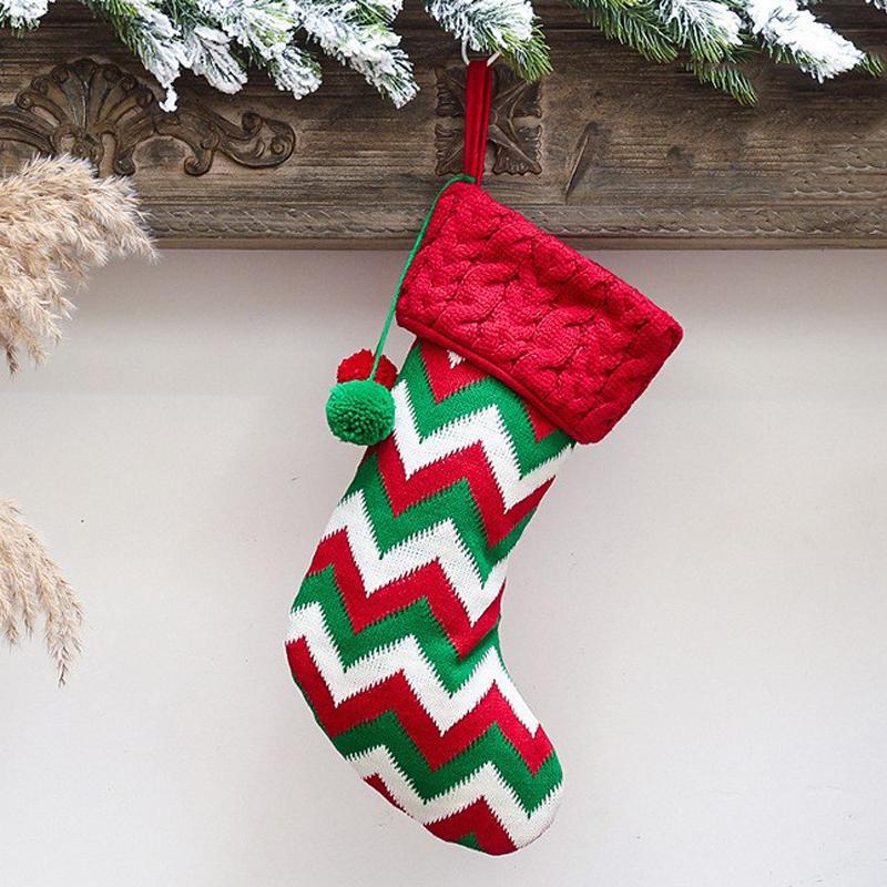 Большое рождественское чулок подарок мешок снежинки лося полоса носок милые рождественские дети подарочные сумки рождественские акции рождественские украшения CFVT1152