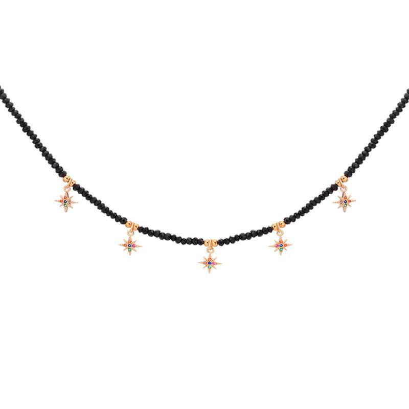 المختنقون سحر الملونة نجمة المختنق قلادة للنساء الأبيض الأسود الخرز سلسلة القلائد هدايا مجوهرات بسيطة الملحقات