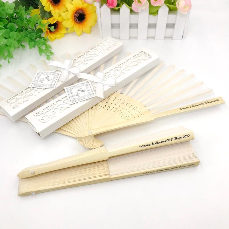 40pcs Ventilateur de mariage personnalisé dans la boîte-cadeau Bridal Douche Bridal Faveurs Impression de ventilateurs fabriqués à la main à la main
