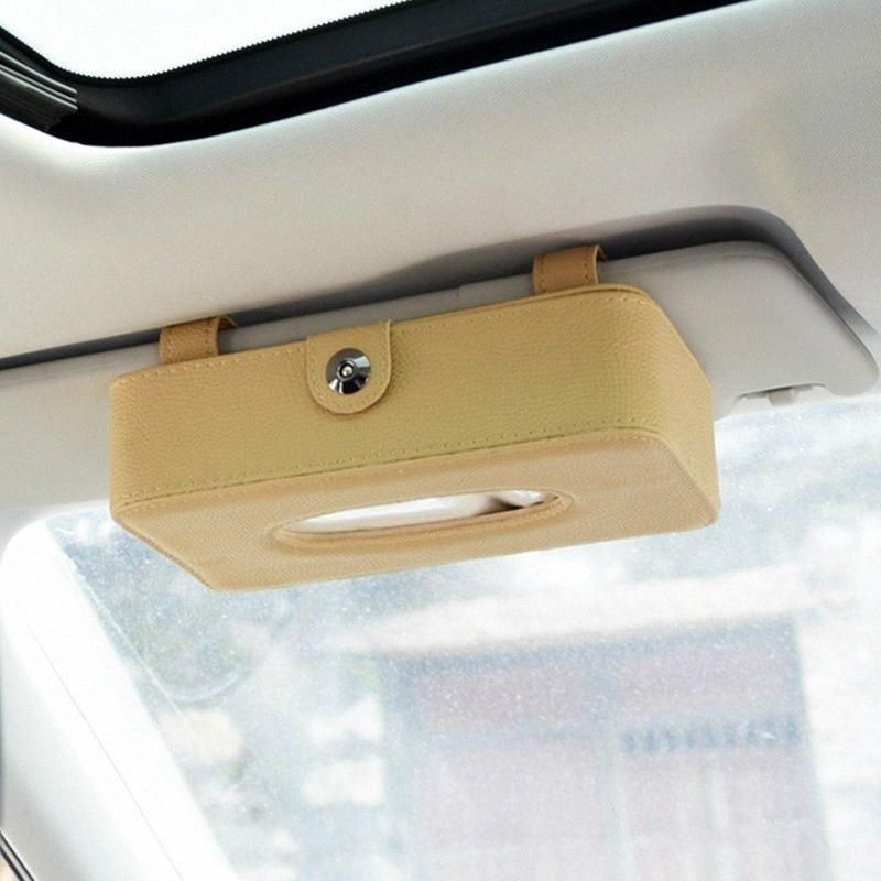 El tejido del visera de sol de Tipo de Auto Caja de cuero de la PU de la servilleta del sostenedor del clip del asiento de coche Organizador del tejido Cajas Accesorios para automóviles 2lit #