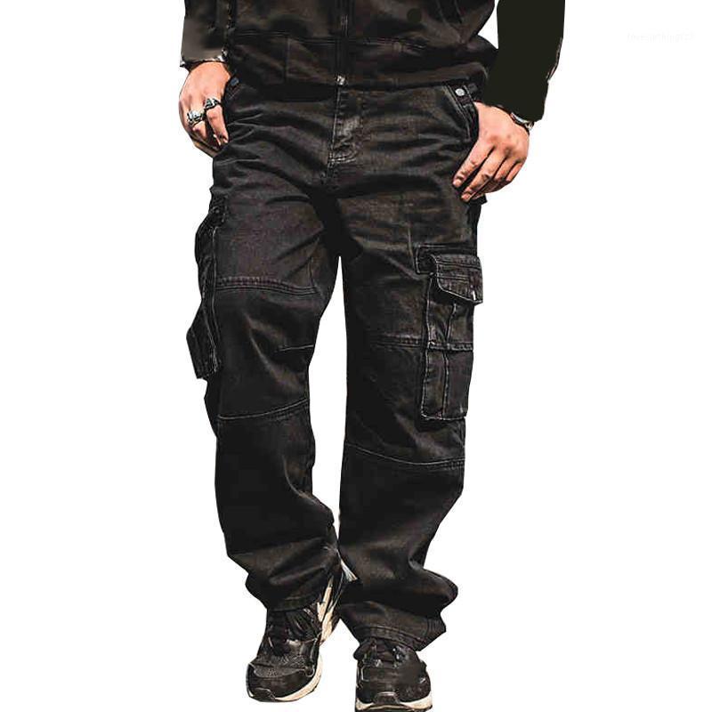 Homens Casual Calças de Jeans de Carga Multi Pockets Punk Hip Hop Loose Fit Calças De Denim Calças Para Calças De Calça Baggy Masculina Plus Size 30-461