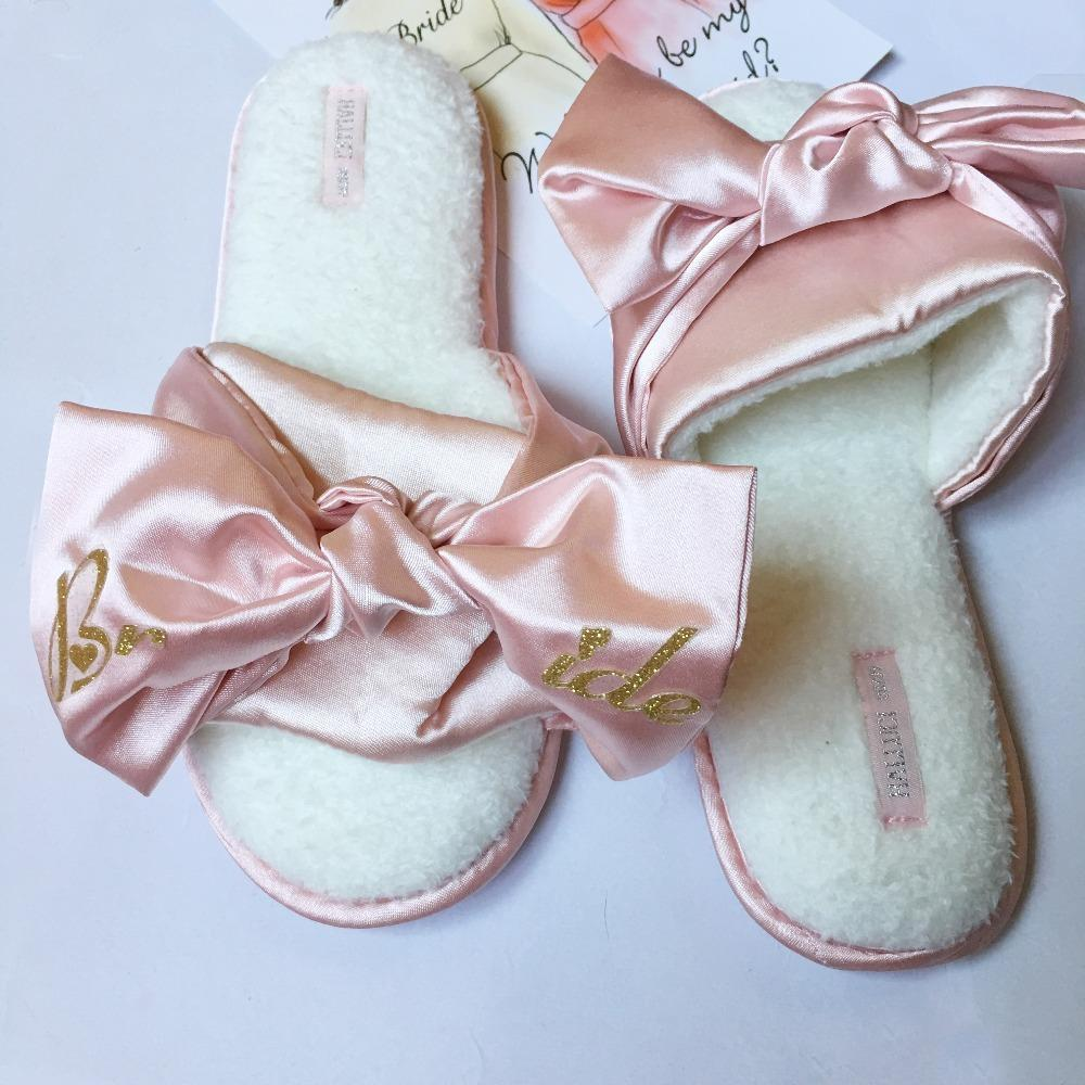 1 pairs lot pink dark blue satin slipper wedding bridal party maid of honor gift personalized bridesmaid gifts 1027