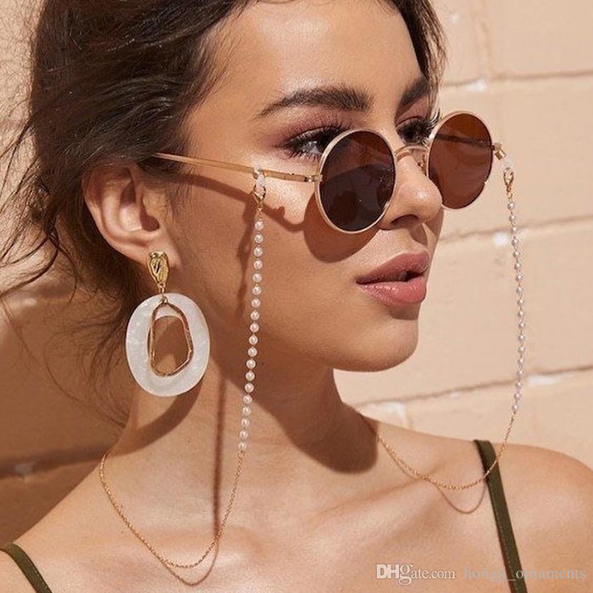 2020 Modo occhiali da vista catena imitazione perla perline perline occhiali da sole maschera a catena appesa corda donna esterna casual collana accessorio