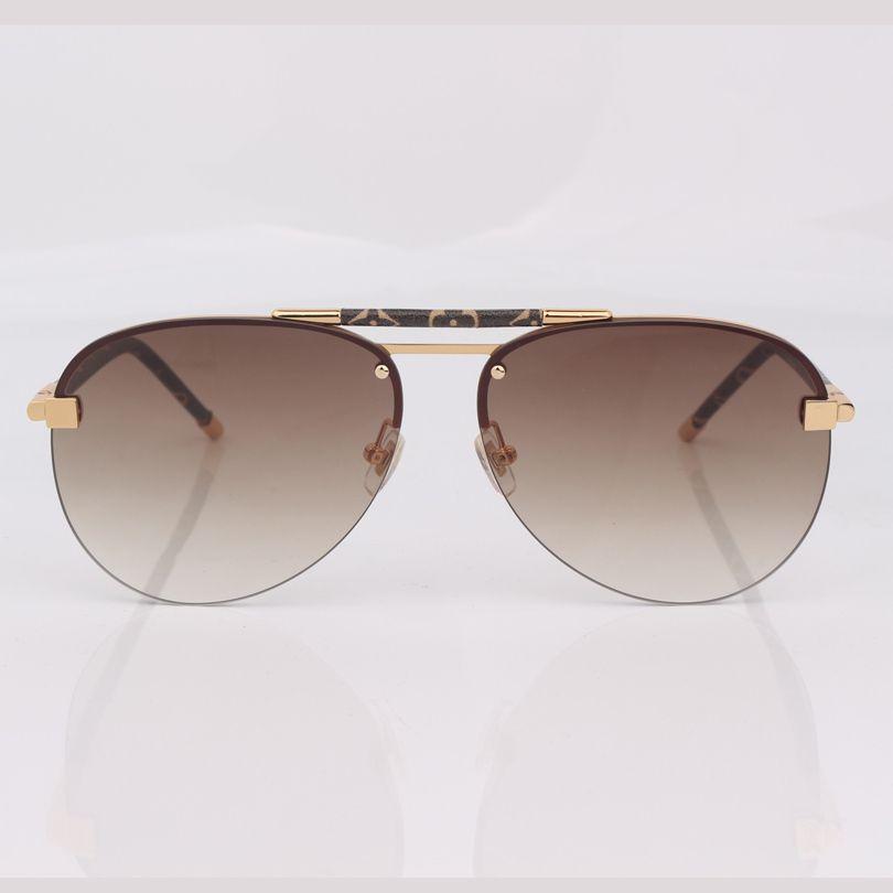 Óculos de sol de gradiente marrom sem aro Mulheres com couro, estilo piloto de moda desgaste de olho de ponte dupla