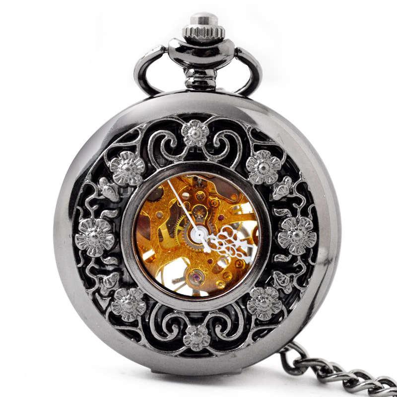 Bosiya Mecânica Bolso Relógio Requintado Esculpido Hollow Mecânico relógio de bolso para homens e mulheres General Lazer Maquinaria