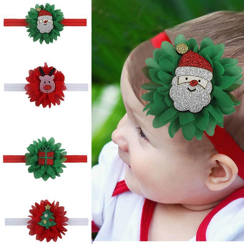 INS 2020 новой рождественская новорожденных повязки шифон цветка младенец повязка девушка оголовье мультфильм дети оголовье полоса голова ребенок девушка