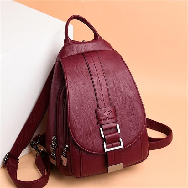 Hot Travel Backpack Soft Genuine Leather Shoulder Women 2020 Designer School Bags For Teenage Girls Mochilas Q1104