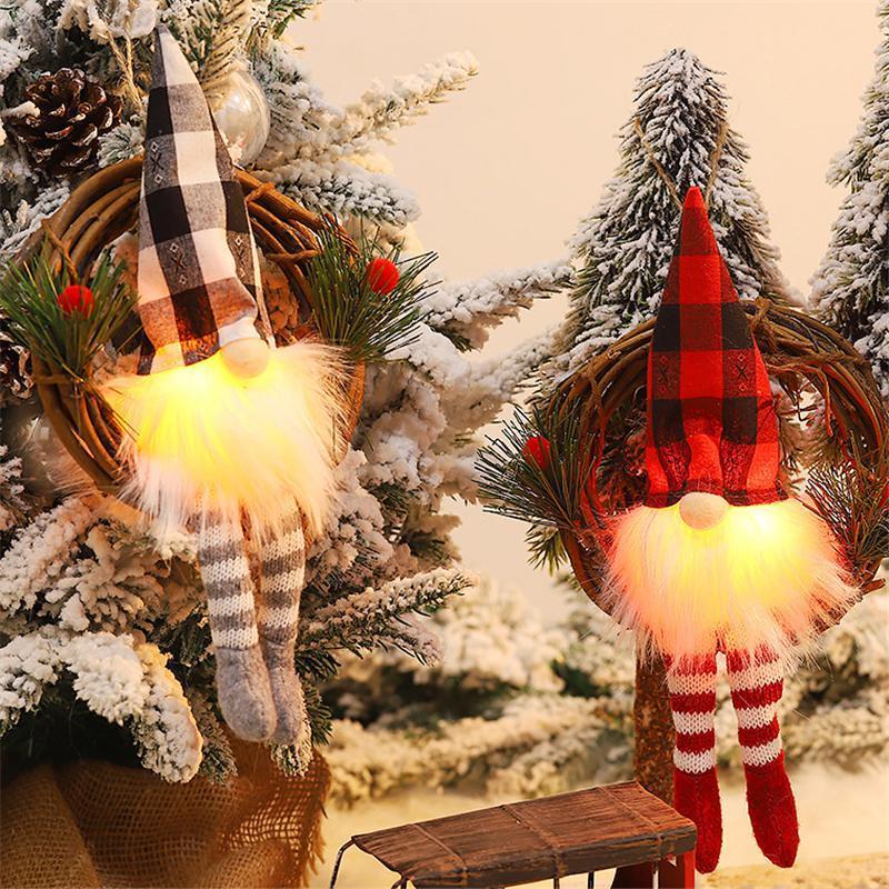 Gnome Natale con la luce Plaid Buffalo check peluche nordico scandinavo Elf X'Mas partito di festa Home Decor BWC2971