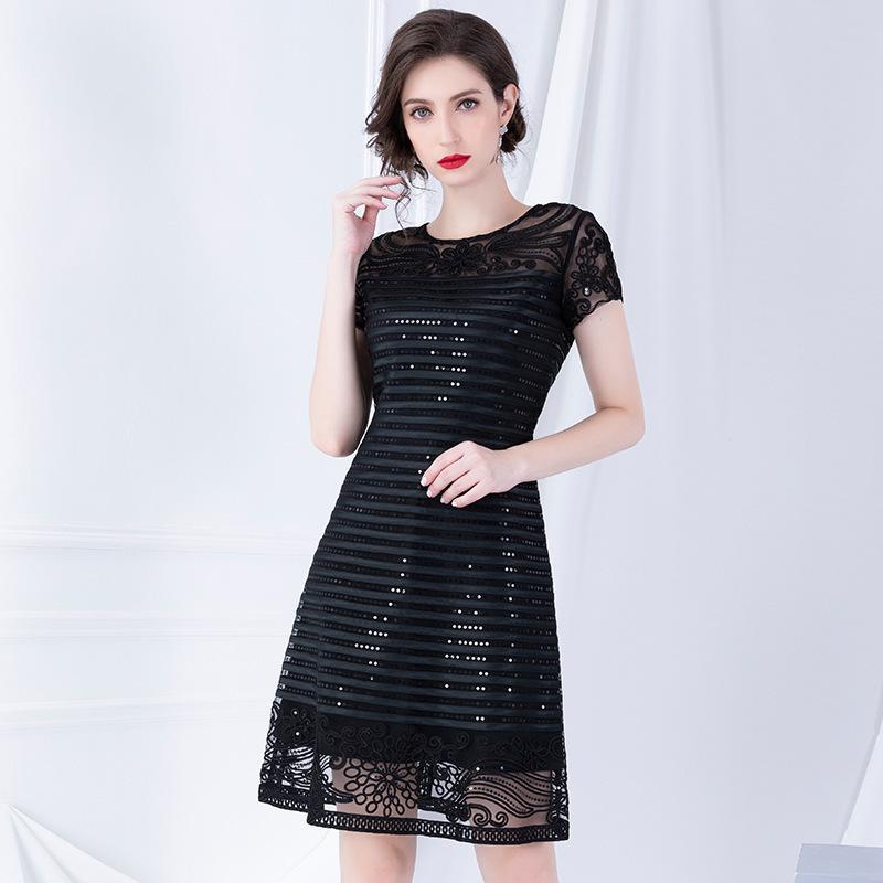 Zarif Payetli İşlemeli Elbise 2019 Erken Sonbahar Yeni Kısa Kollu Dikiş Bir Bayan Elbiseleri T200623