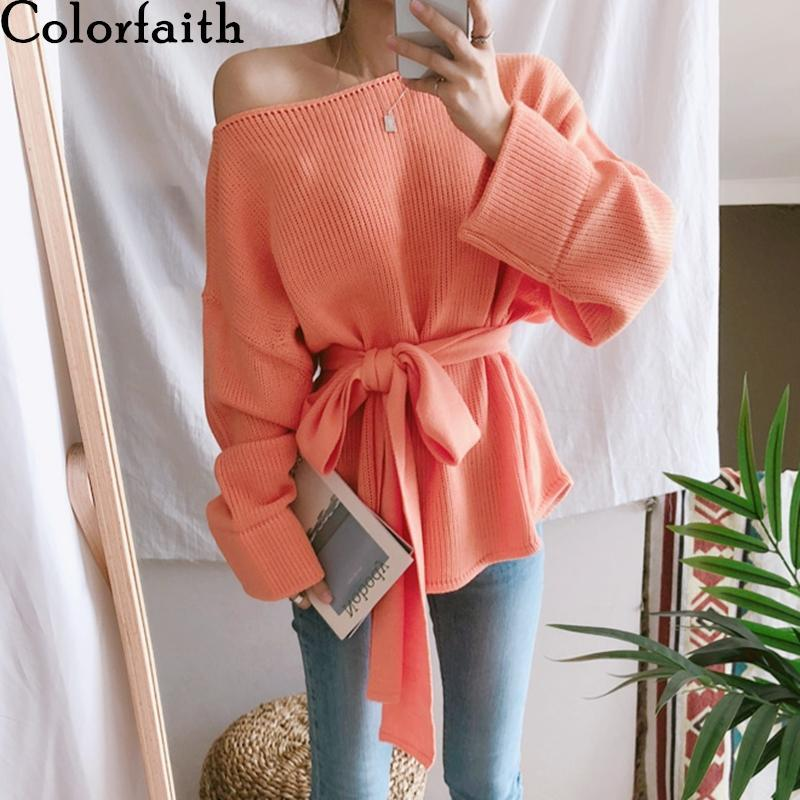 Damenpullover Colorfaith 2021 Herbst Winter Lässig Modern aus Shouder Slash Hals gestrickt Lace Up Koreanische Jumper SW5203
