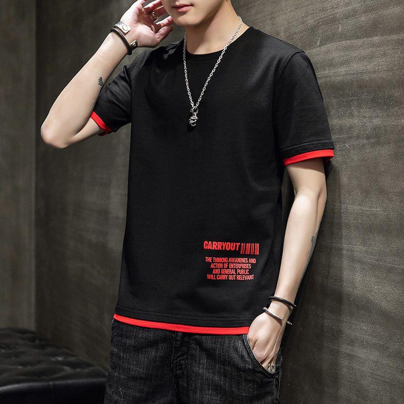 2020 Футболка Мужчины Мода Tshirt Streetwear Мужской Тис Свободный японский лето с коротким рукавом O-образным вырезом Крупногабаритные Хлопок моды Tshirt 1021