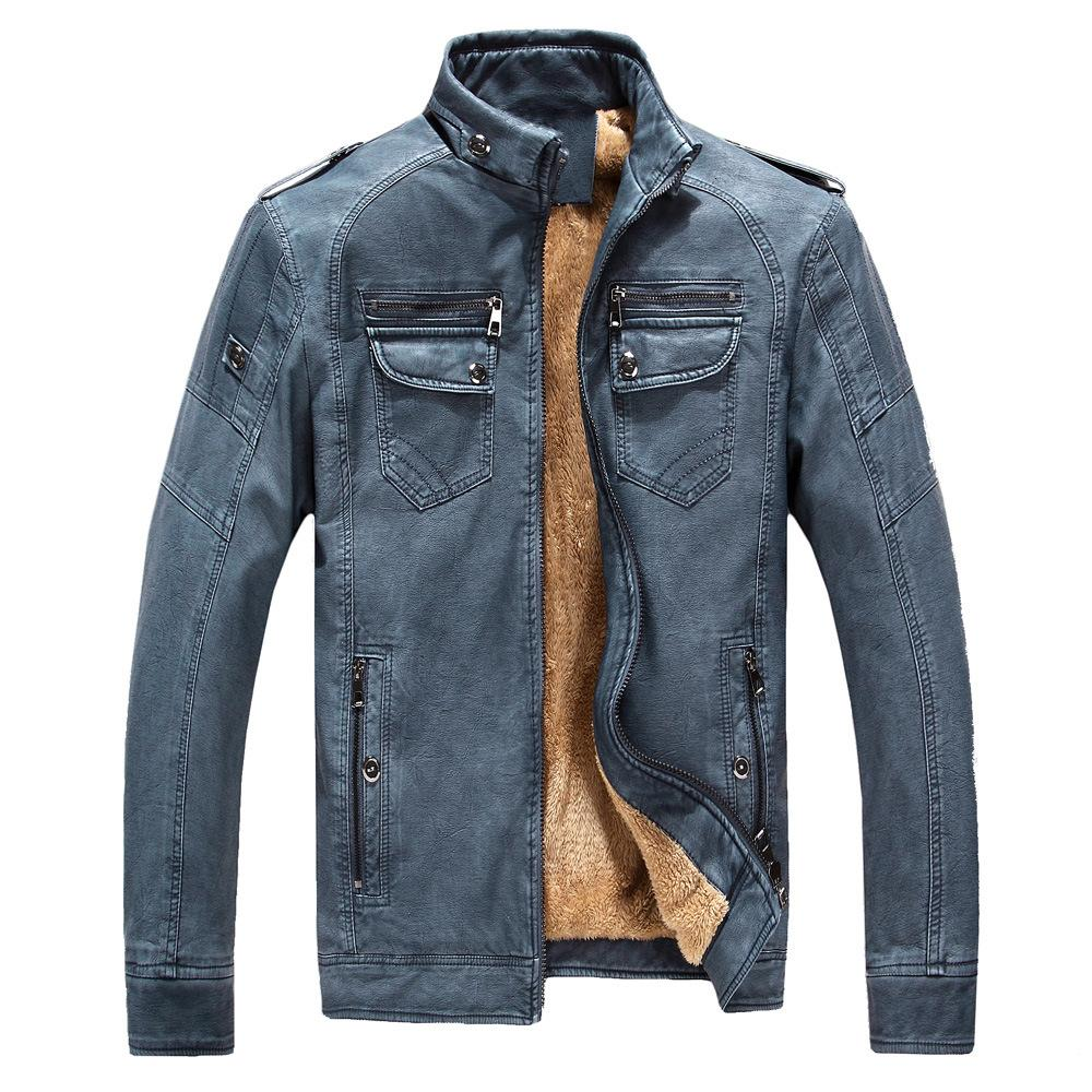 chaqueta de cuero de cuero Monclair cazadora Día Nacional hombre sin afeitar de los hombres Manera- invierno lavaron la chaqueta de cuero genuino