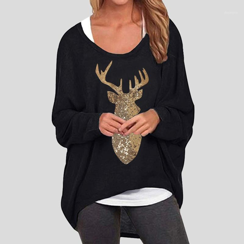 Frauen Tops und Bloues Casual Batwing Langarm Sehr Schulter Elk Print Baggy Tops Weihnachtshemd Blusas Mujer de Moda 2020 @ 471