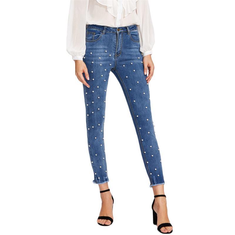 Primavera e outono nova moda casual unha meados de cintura de calça jeans de lápis de alongamento da mulher mais tamanho