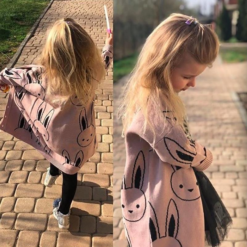 Детские девушки свитера малыша мальчики кардиганов пальто мультфильм кролик детей хлопок трикотаж осень зима дети девушка пуловер свитер 201103